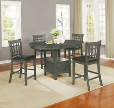 Casual 5 Piece Counter Height Dining Set with Extension Leaf & Storage Base Gray