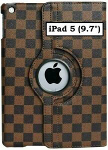 """Apple iPad 5 (9.7"""" inch - 5th Gen) Brown Checkered Plaid Stand Cover Case Pouch"""