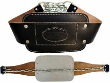 AQF Leather Dipping Belt Padded Weight Lifting Heavy Duty Abs with Metal Chain