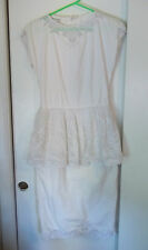 Vintage 80's White Lace Cotton Palm Tree Peplum Dress Justine Todd