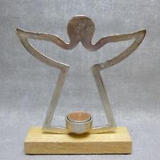 Formano Deko Teelichthalter Engel  Alu Holz silber Weihnachten Winter Geschenk