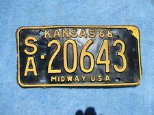 VINTAGE ORIGINAL 1968 KANSAS LICENSE TAG SA 20643 PLATE WALL HANGER  MAN CAVE