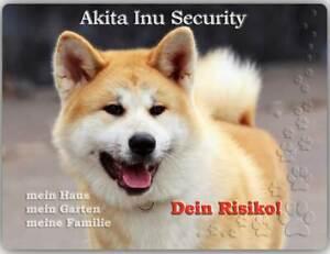 Warnschild - Schild aus Aluminium - Motiv: Akita Inu Security 01