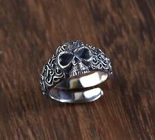 Solid 925 Sterling Silver Mens Heavy Retro Patterned Skull Ring Adjustable Size
