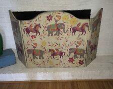 Hand Painted Keels Culberson Swinnie WOODEN FIREPLACE SCREEN Elephants Parrots