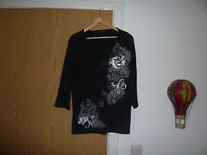 ladies debenhams top  size 20 black silver pattern