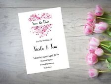 Personalised Save The Date Night Cards X 10 Wedding Butterfly Heart WI20