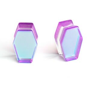 Halloween Purple and AB Shiny Glass Coffin Ear Plugs 6mm - 25mm Gauges Tunnels