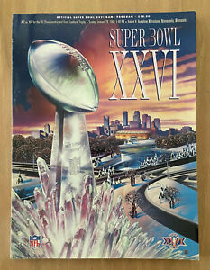 VINTAGE 1991-92 SUPER BOWL XXVI PROGRAM WASHINGTON REDSKINS v BUFFALO BILLS