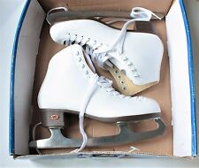 RIEDELL WOMENS WHITE FIGURE ICE SKATES MODEL 110W SIZE 8 10 1/3