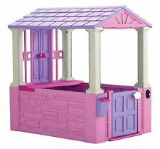 Pink Plastic Playhouse Girls Playing Toy Kids Toddler House Indoor Outdoor Play