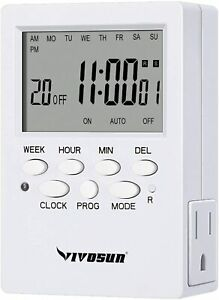 VIVOSUN 7Day Programmable Timer Indoor Digital Electronic Timer w/ Dual Outlet 2