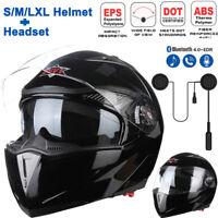 DOT Motorcycle Modular Flip Up Dual Visor Full Face Helmet Carbon Fiber+ Headset