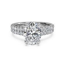 14K White Gold Oval Shape Ring 1.60 Ct Diamond Engagement Rings