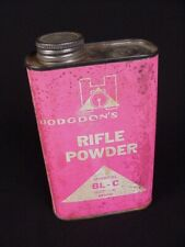 Hodgdons Rifle Powder vintage reloading supply empty tin can Bl-C pink label
