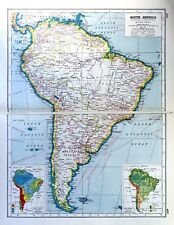 Vintage Antique Original 1920 Print Map Of South America Political & Industrial