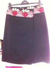 Next Skirt Black Size 12 Embroidery Midi Wrap Over