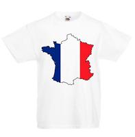France Kid's T-Shirt Country Flag Map Top Children Boys Girls Unisex French