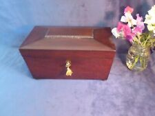 More details for large victorian sarcophagus mahogany tea caddy with lock & key