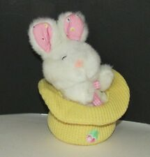 white plush BUNNY RABBIT  in yellow thermal waffle weave hat Easter gingham bow