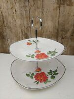 """VINTAGE 1950's MIDWINTER """"ROSE MARIE"""" TWO TIER SANDWICH OR CAKE PLATE STAND"""