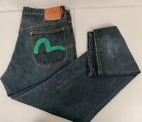 Evisu  Jeans Mens 36x34 Blue Denim Button Fly Dark Wash  Distressed Genes