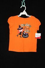 """4T Girls Jumping Bean Halloween Orange """"Daddy Is under My Spell"""" SS Top (NWT)"""