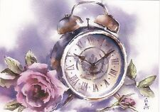 RARE Alarm clock rose flower by Selyanko Russian modern postcard