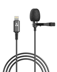 Microphone for iPhone Lightning Clip On Lapel Lavalier Omnidirectional Mic