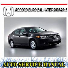HONDA ACCORD EURO 2.4L i-VTEC 2008-2013 WORKSHOP SERVICE REPAIR MANUAL ~ DVD