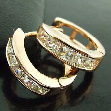 HOOP HUGGIE EARRINGS 18K ROSE G/F GOLD GENUINE DIAMOND SIMULATED ITALIAN DESIGN