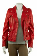 Ladies Red Napa Slim Short Tight  Fitted Biker Leather Jacket Bike Fashion