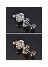 Luxury Pave Diamond Clear Saphire Silver Gold Filled Lady Studs Wedding Earrings