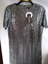 BOOHOO Grey Sequin T Shirt Dress Size 12 Bnwt ref mx6