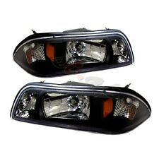 Fit 87-93 Ford Mustang 1 Piece Pair Black Housing Headlight Amber Reflector Lamp