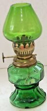 Vintage Green Glass Small Miniature Oil Lamp Made In Hong Kong