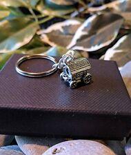 Handmade Gypsy Caravan Holiday Silver Plated Keyring / bag Charm. Gift Boxed.