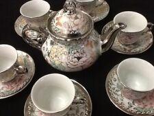 13 Pc Tea Set Tea Pot 6 Cups Saucers w Rack Silver Multi 3 oz cup TeaPot Lid