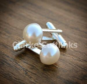 Pearl Cufflinks - Birthday Gift Wife Girlfriend Mum Wedding Ladies Womens Mens
