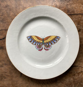 Antique Chinese Yongzheng Porcelain Butterfly Plate 18th c Export Rare