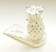 DOOR STOPPER - WOODEN PINEAPPLE DOOR STOP - ANTIQUE WHITE WASH FINISH DOORSTOP