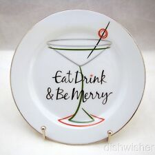 """St. Nicholas Square EAT DRINK & BE MERRY Appetizer Plate """"Eat, Drink..."""" 6 1/2"""""""