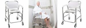 DMI Rolling Shower and Commode Transport Chair with Wheels Padded Seat...