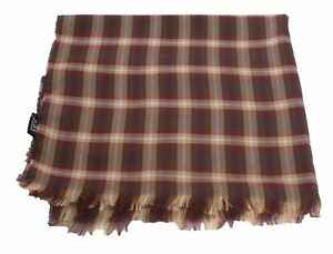 NWT Authentic Tom Ford Scarf Cashmere Blend Red and Orange Plaid #Tf516