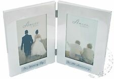 50th Wedding Anniversary Silverplated double photo Frame.  WG65750