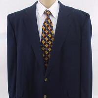 50 L Stafford Navy Blue Lightweight Rayon 2 Btn Mens Jacket Sport Coat Blazer