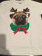 Girls Pug Christmas  T-shirt Novelty Deer Size small