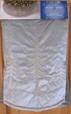 "Jaclyn Smith 48"" Christmas Tree Skirt Silver - Gray with Beaded Trees - NIP!"