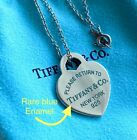 Rare Return to Tiffany & Co. Heart Tag Pendant Necklace Blue Enamel Letter 925