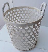 Porta biancheria cesto in Bambù naturale bianco decapato cm34x50 portabiancheria